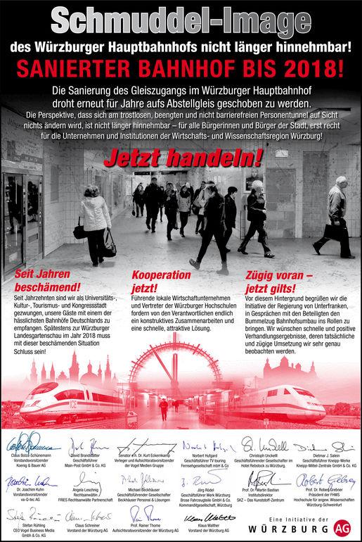 Anzeigenkampagne: Schmuddel-Image des Würzburger Hauptbahnhofs nicht länger hinnehmbar